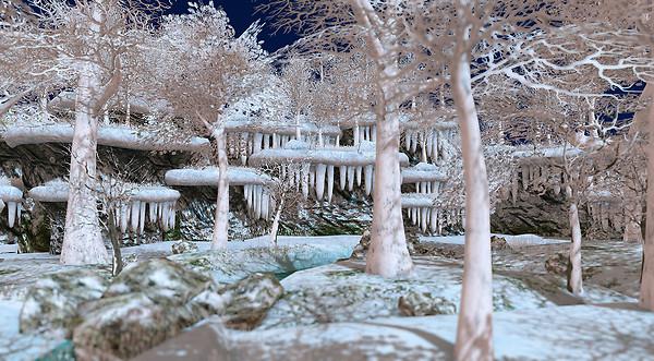 Snowy Oak Forest River Banks