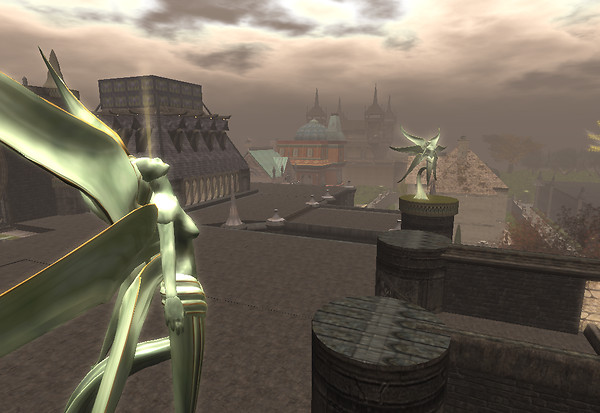 Corcosman Voom presents statuary at The Cathedral of Air and Darkness NeoVictoria sim in February
