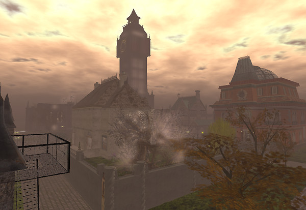 Corcosman Voom presents a rooftop view of the NeoVictoria sim in February