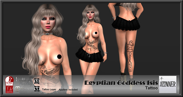 Zinner Shapes & Gallery - Egyptian Goddess Isis Tattoo