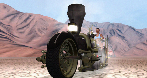 Giant Steam Motorbike at Burn2 Site